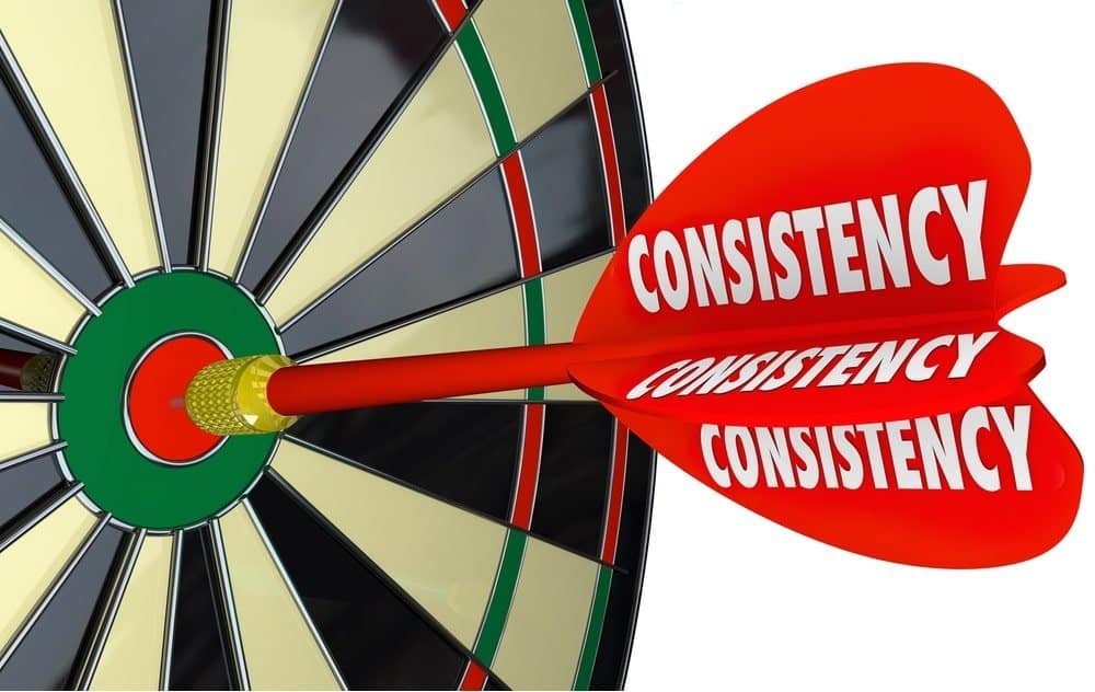 consistency written on a dart hitting a dart board