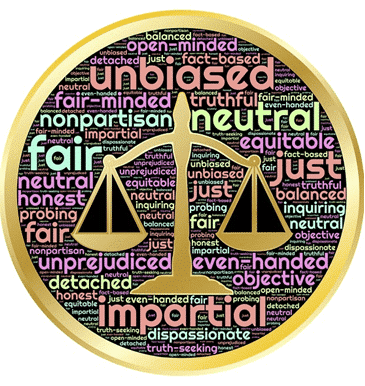 scales of justice with word cloud background
