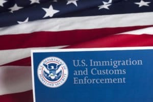 US Customs and Border Enforcement Logo and USA flag