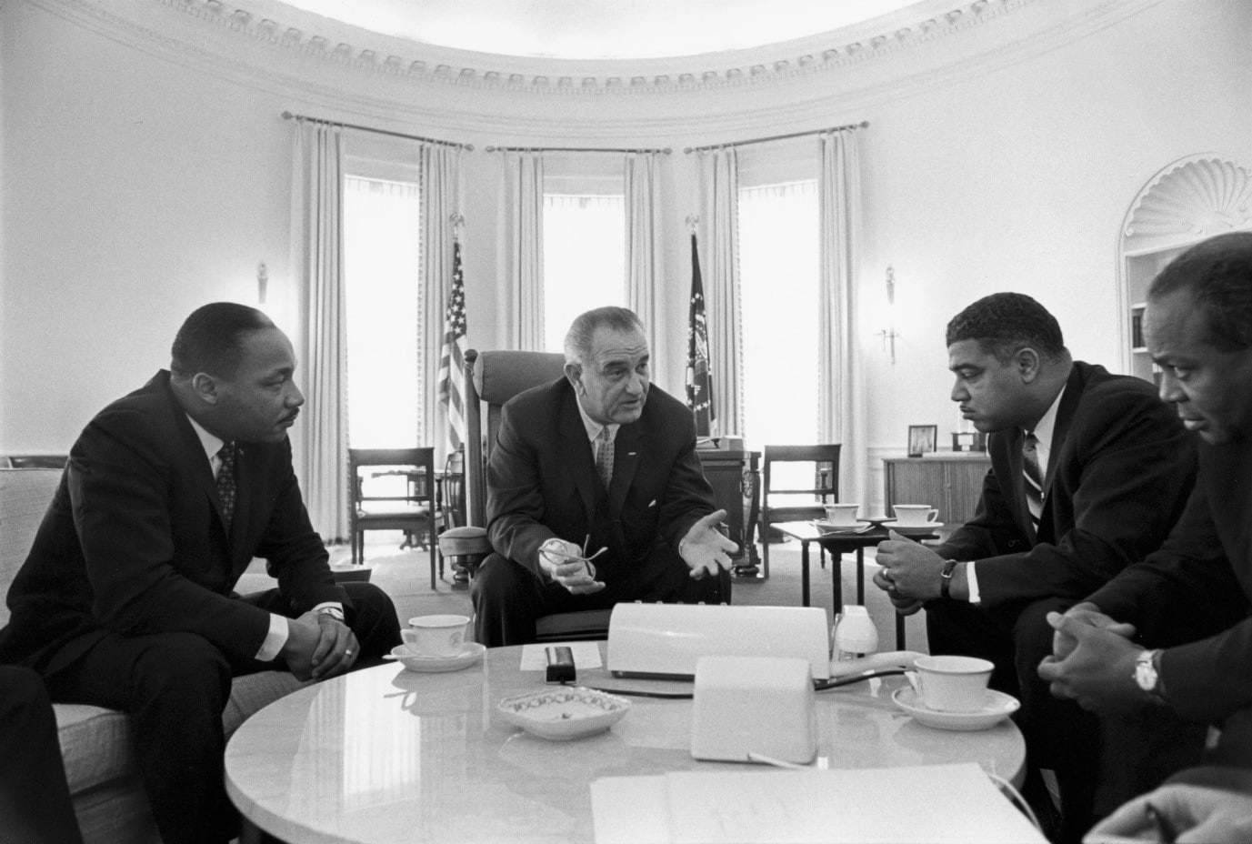President Johnson with civil rights leaders