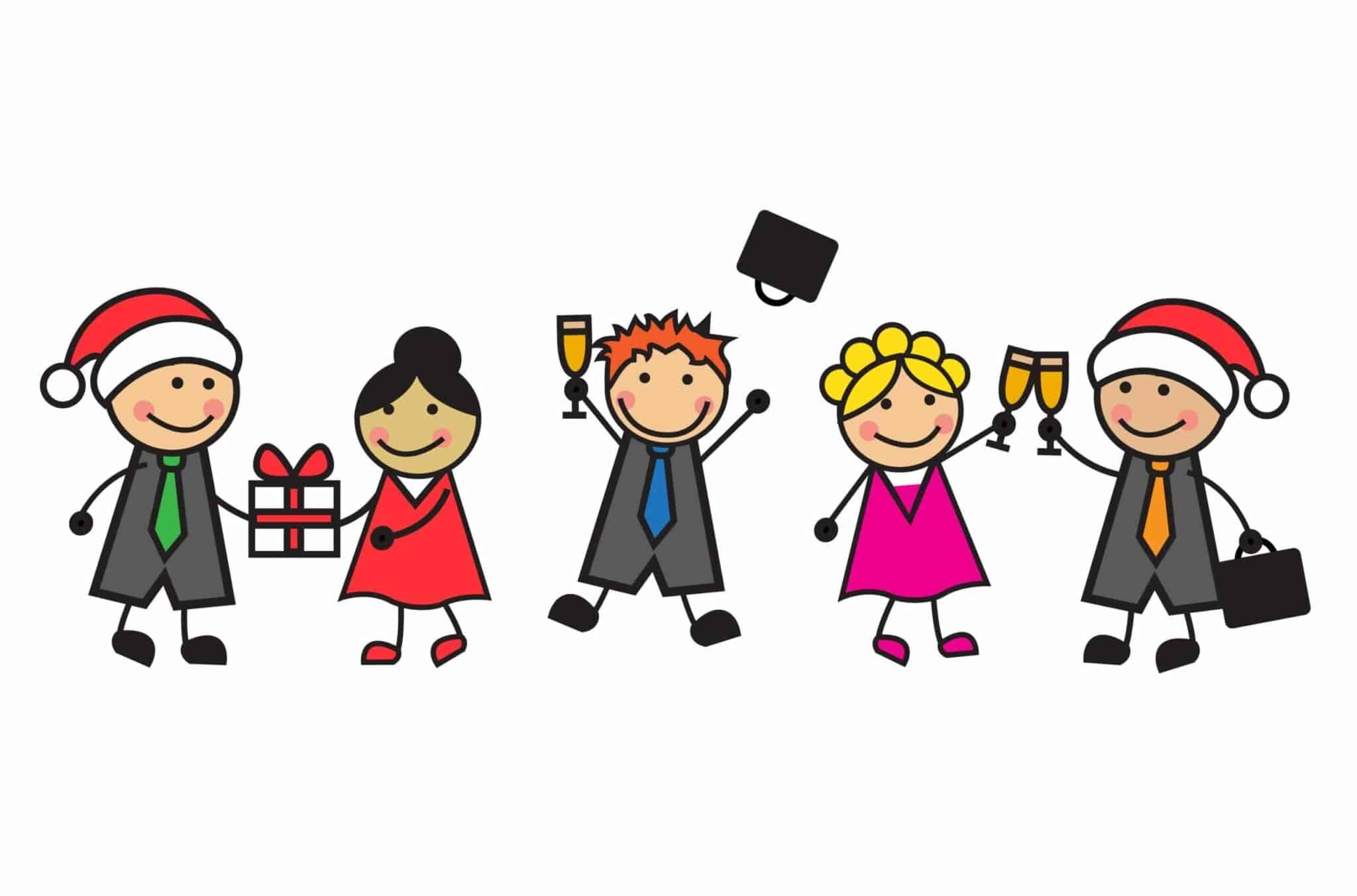 5 cartoon figures celebrating Christmas at work