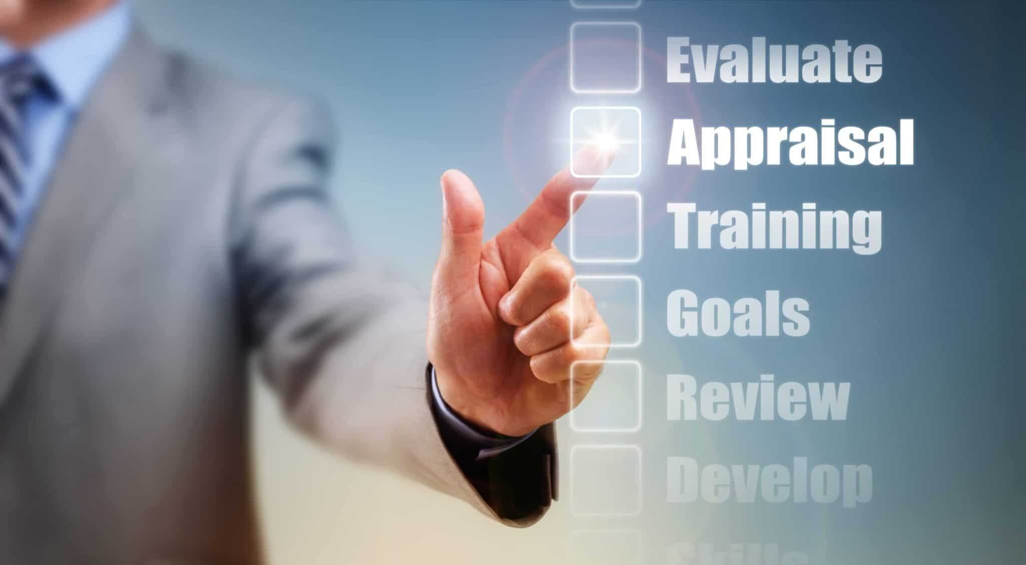 Businessman selecting self improvement options for appraisal, goals and training