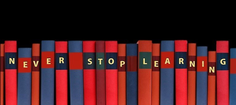 Never Stop Learning written on book ends