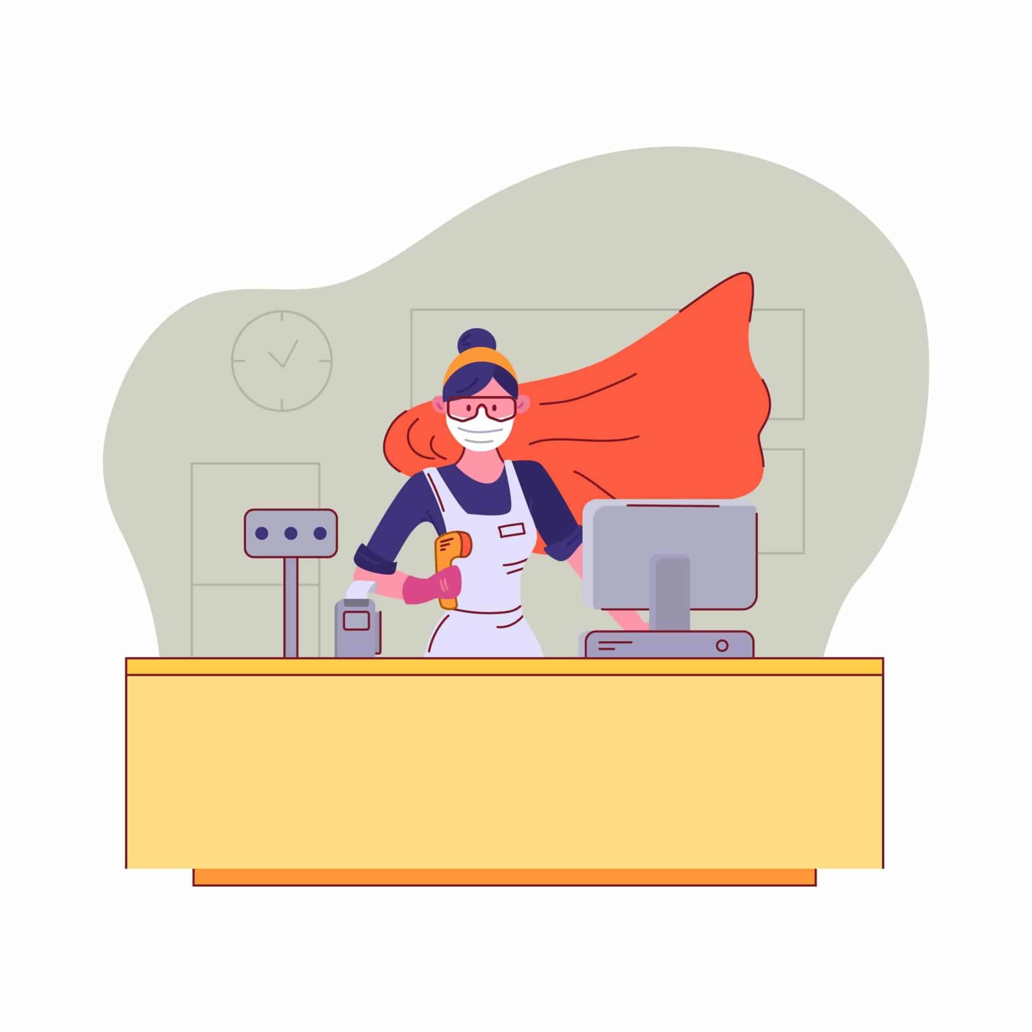 You are our heroes. Seller in medical mask and goggles stands behind the cash register in a supermarket with a superhero cloak during quarantine. Appreciation to sales staff. Vector illustration