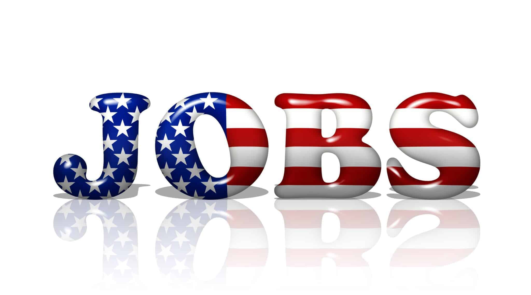Word jobs in balloon and US flag font