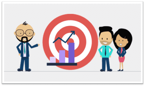 leader-with-graph-on bullseye-two-employees